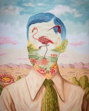 Defaced male portrait with a flamingo inside his face.