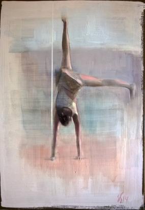 Woman upside down portrait.
