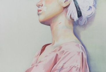Portrait of a girl with a pink blouse.