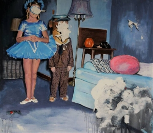 Masked ballerina and boy into a room.