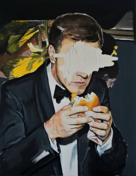 Defaced man eating a burger.
