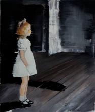 Full body baby girl portrait into an empty room.