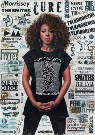 Woman portrait paintings wearing a Joy Division shirt.