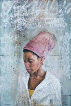 Portrait of a woman wearing a pink hat.