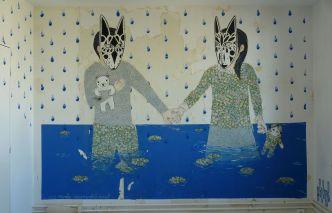 Masked kids holding hands illustration.
