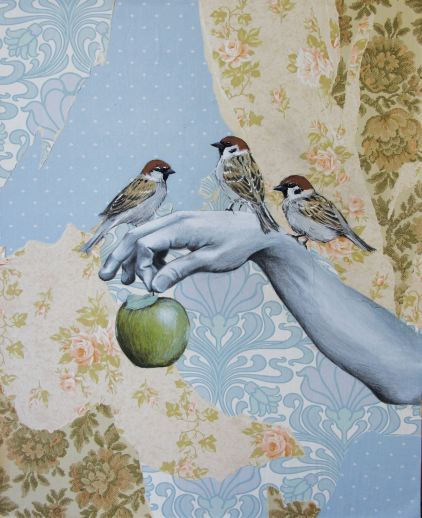 Illustration of a hand holding an apple and birds.