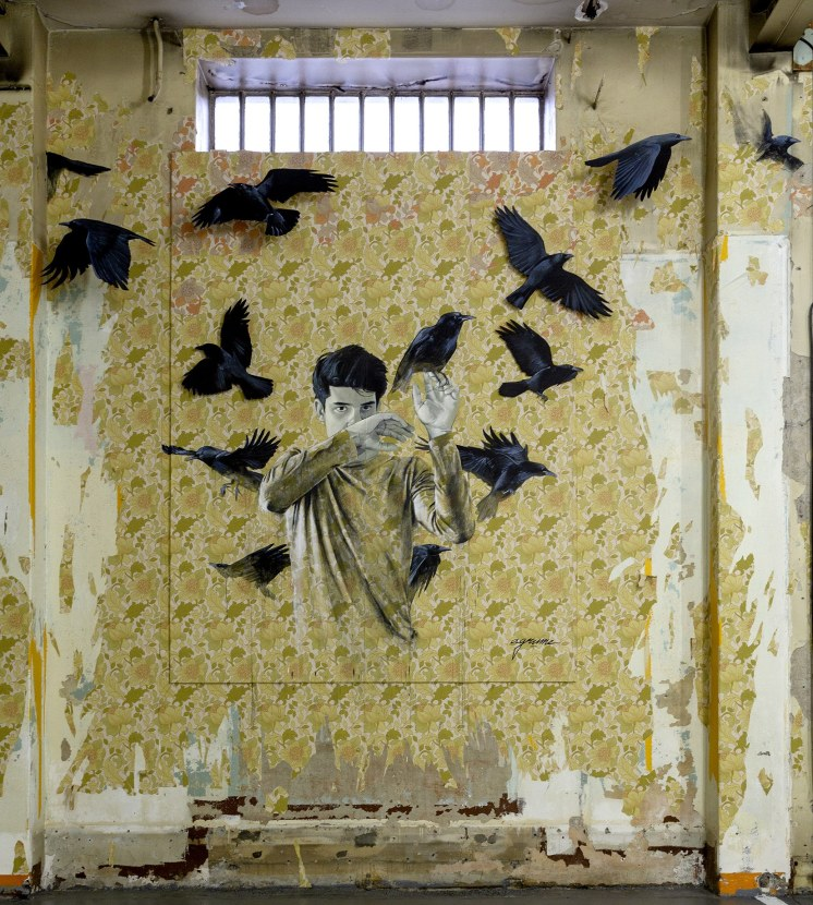 Illustratino over a yellow wallpaper of a boy surrounded by crows.