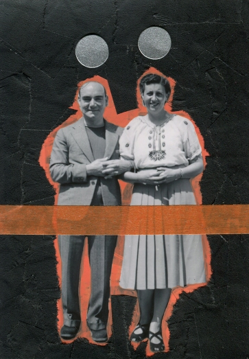Couple vintage portrait altered with mixed media materials.