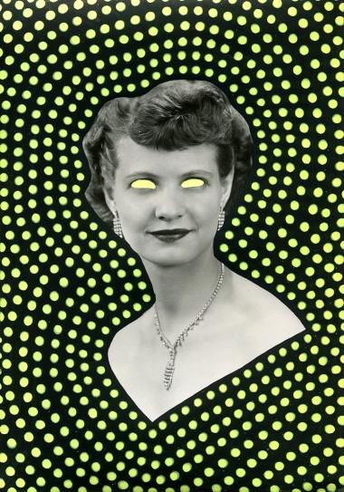 Vintage elegant woman portrait altered with pens.
