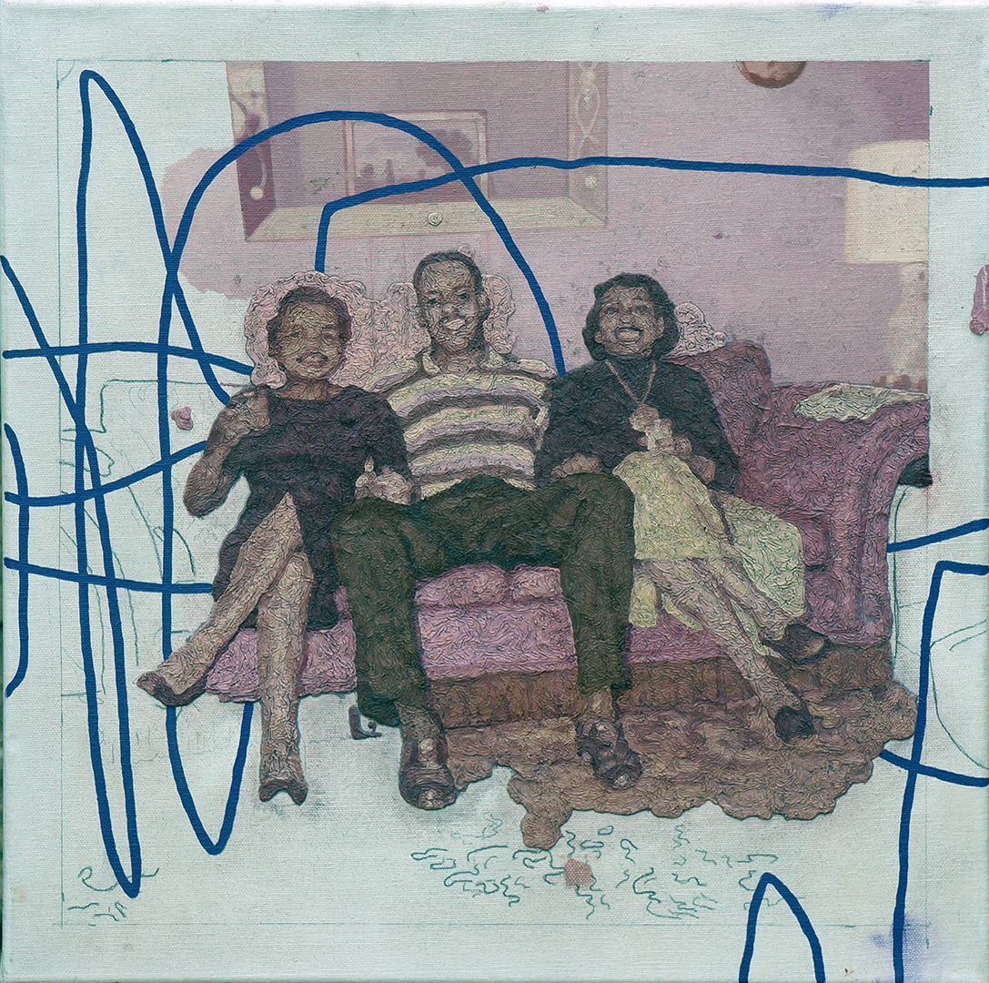 Three smiling people on a pink sofa portrait.