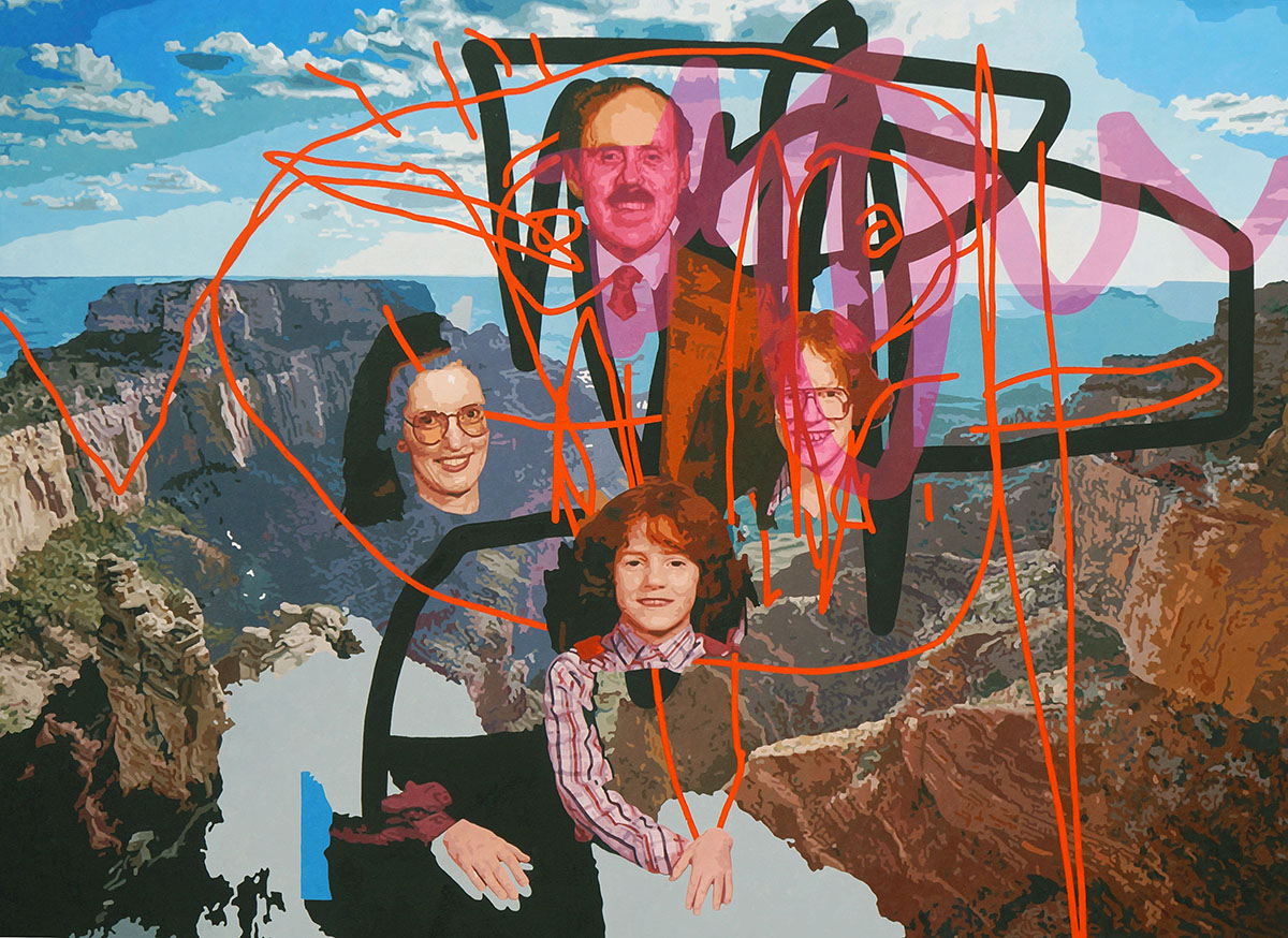 Group family portrait painted over a mountain landscape.