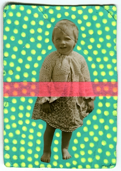 Vintage baby girl portrait altered with neon colours.