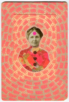 Vintage woman picture altered with neon materials.