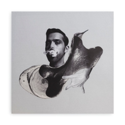 Man blowing smoke surrounded by an abstract composition.