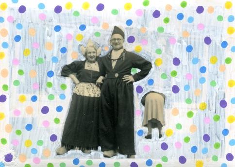 Confetti decorated vintage photo.