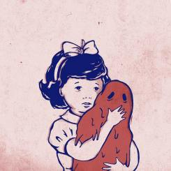 Baby girl hugging a blob monster.