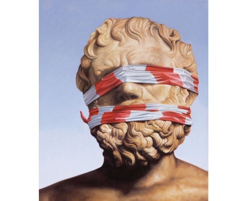 Paintings of a statue portrait with the face covered with striped tape.