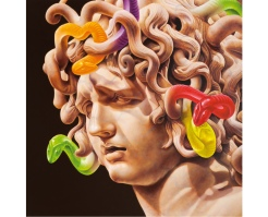 Painting of a medusa head statue with snakes candies on the head.