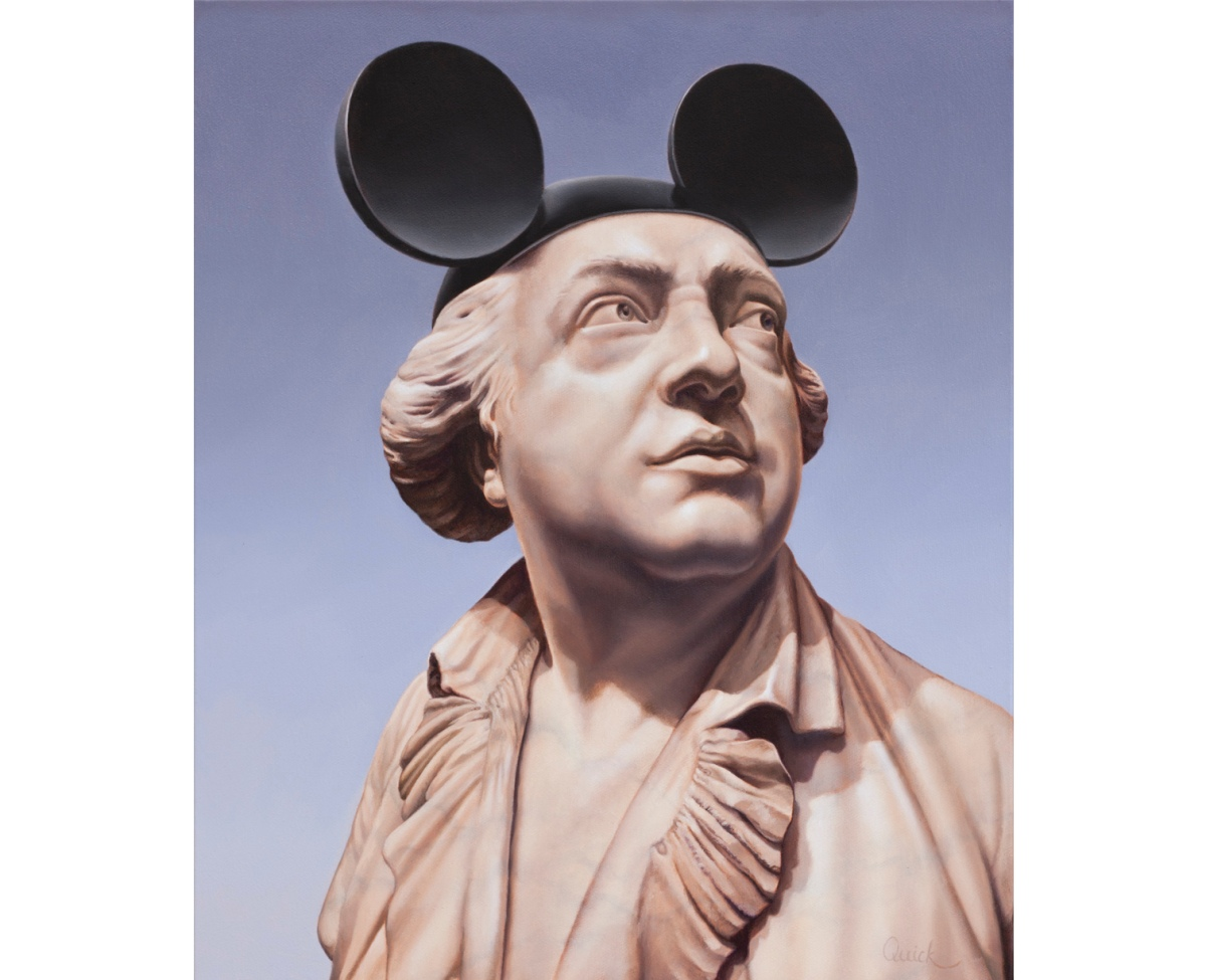 Male bust painting wearing a Mickey Mouse hat.