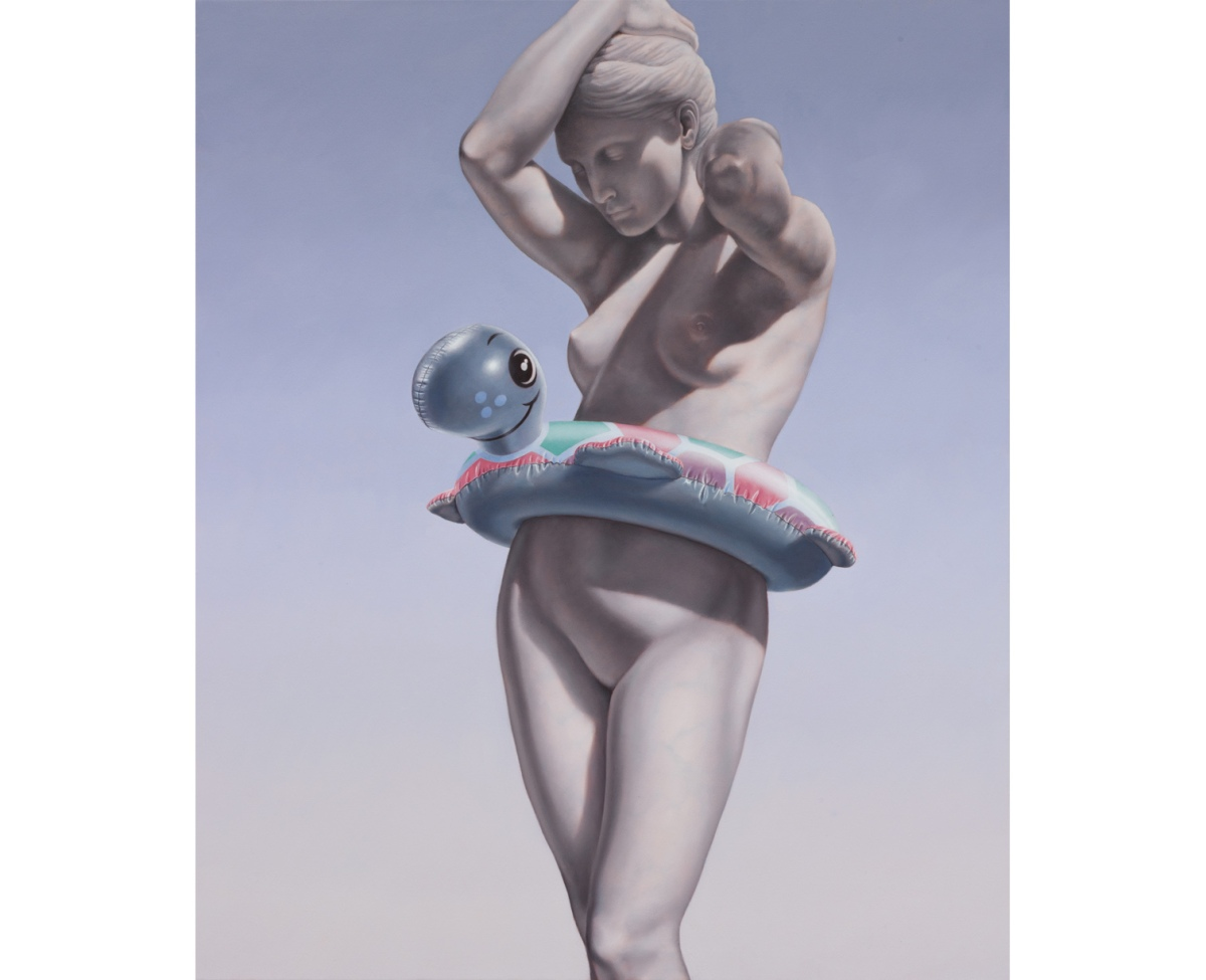 Female monument painting wearing a kid life vest.