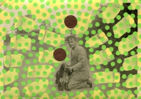Vintage man with dog photo altered by hand.