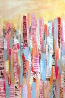 Yellow, pink and red abstract painting.