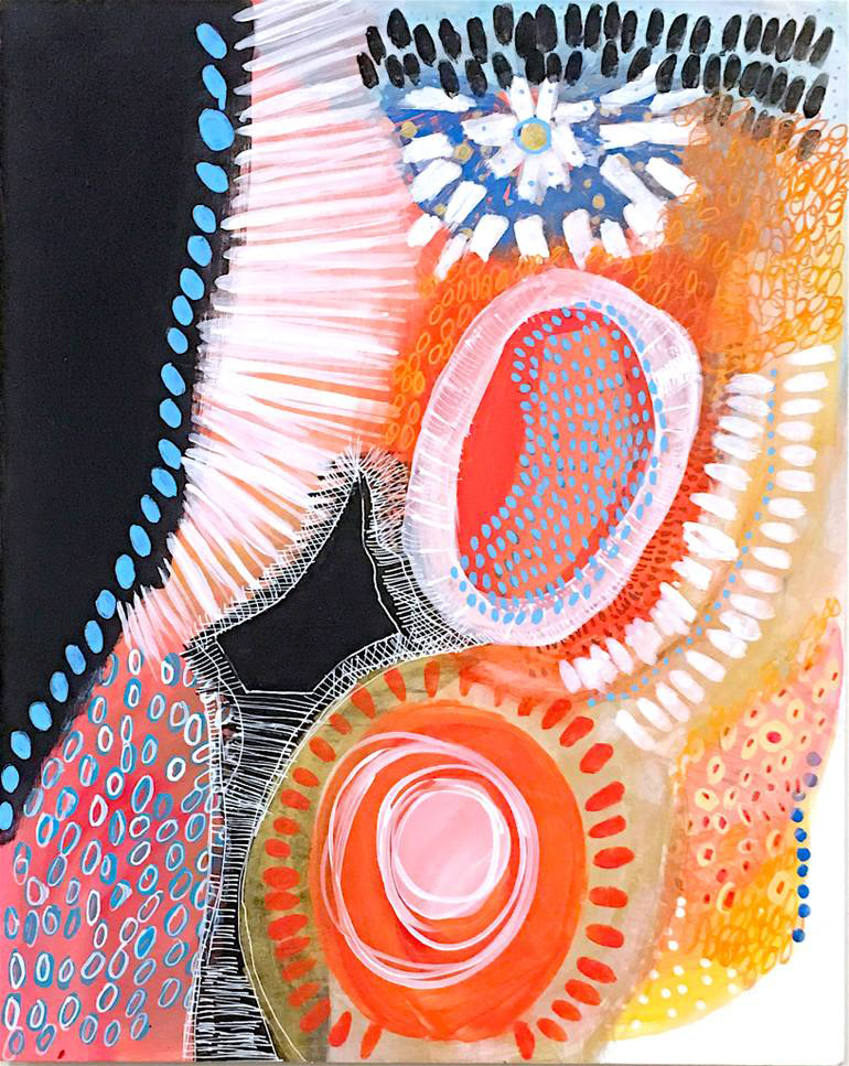 Black, orange, red, white and light blue abstract painting.