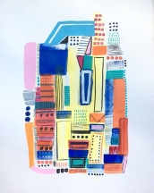 Blue, light blue, pink, orange, green and red abstract painting.