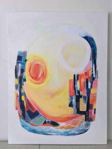 White, yellow, orange, red, and blue abstract painting.