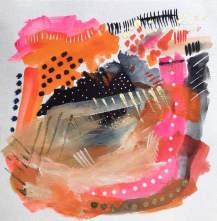 Pink, orange and black abstract painting.