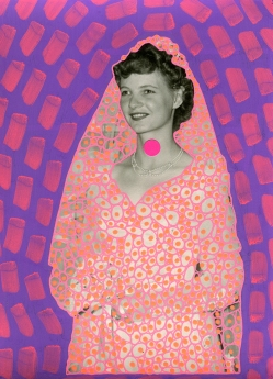 Vintage bride portrait altered with neon colours.