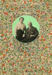 Vintage couple photo altered with tape.