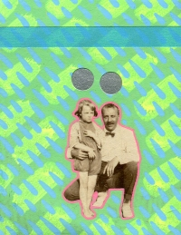 Vintage father and daughter photo altered with neon colours.