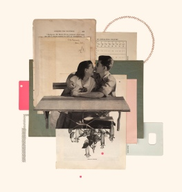 Couple kissing collage.