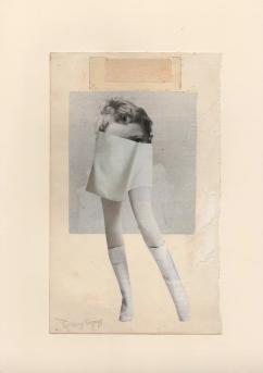 Female legs covering a female face.