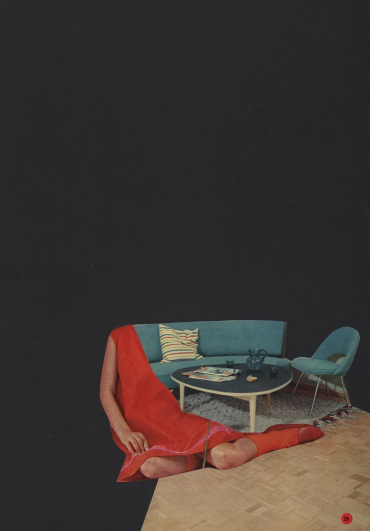 Half female body collaged with a living room still life photo.