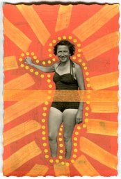 Vintage woman in swimsuit altered with pens.