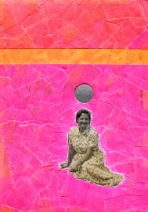 Vintage woman photo altered with neon tape.