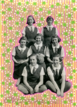 Vintage group photo of young girls manipulated with pens.