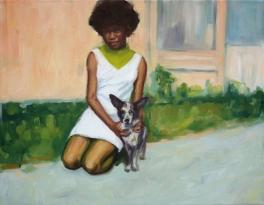Woman with dog portrait.