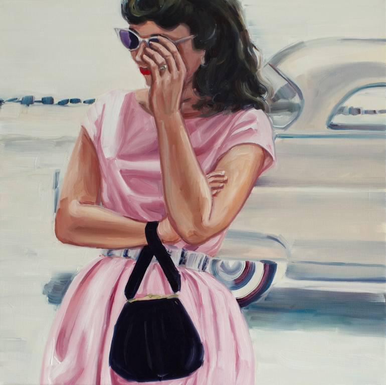 Elegant woman portrait with pink dress.