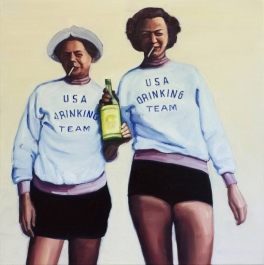 Couple of women portrait holding a bottle together.