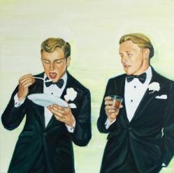 Couple of elegant men portrait eating and drinking.