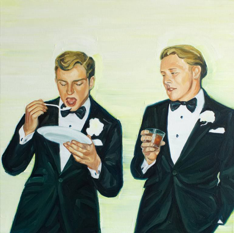 Couple of elegant men portrait eating and drinking.