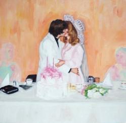 Vintage wedding couple kissing portrait.