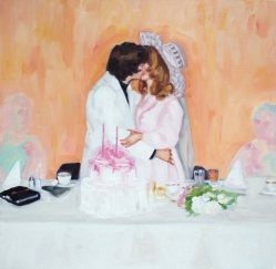 Vintage wedding couple kissing portrait.