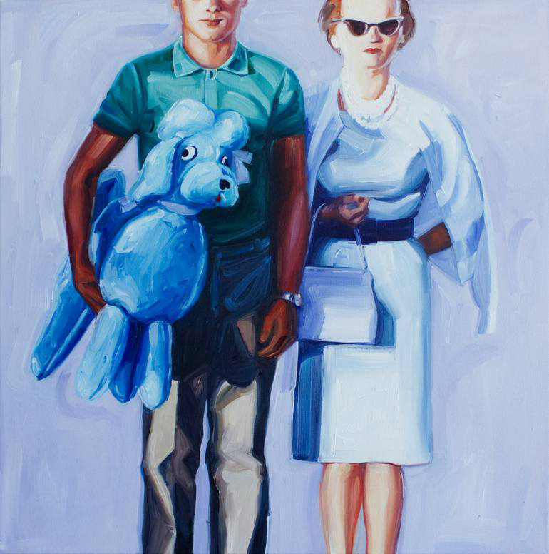 Elegant woman and man holding a giant plush toy portrait.