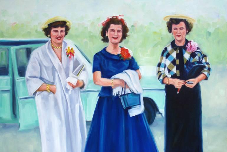 Three elegant woman portrait.