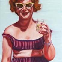 Woman in swimsuit holding a glass of tequila.