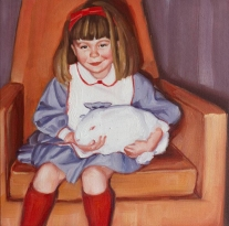 Baby girl holding a bunny portrait.